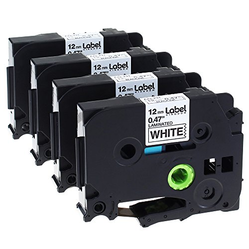 (Label KINGDOM 4 Pack Compatible Brother P-touch TZ TZe TZe-231 TZ-231 Label Tape for PT-D210 PT-H100 PTD400AD PT-P700 PTD600 PT-1230PC Labeler, 12mm (1/2 Inch) x 8m (26.2 ft) Laminated, Black on White)