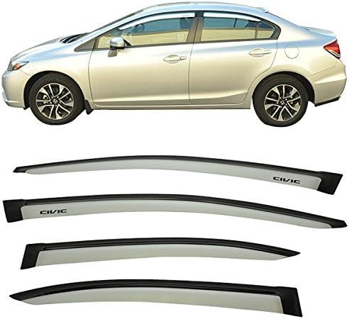 Acrylic Alabaster Silver Metallic #NH700M Rain Shade Guard Wind Vent Visor Air Deflector by IKON MOTORSPORTS Pre-painted Window Visors Compatible With 2006-2011 Honda Civic /& Acura CSX