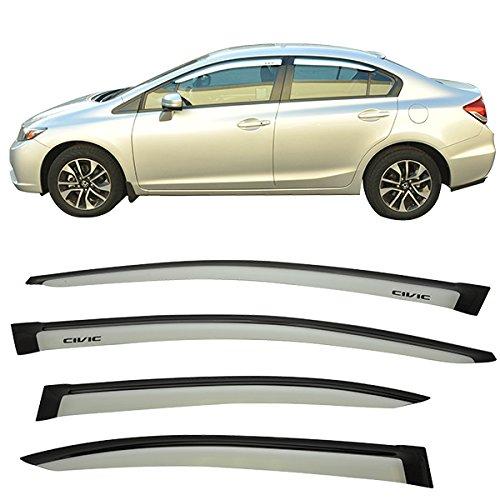 isors Fits 2012-2015 Honda Civic | Acrylic Alabaster Silver Metallic #NH700M Sun Rain Shade Guard Wind Visor Air Deflector Other Color Available by IKON MOTORSPORTS | 2013 2014 ()