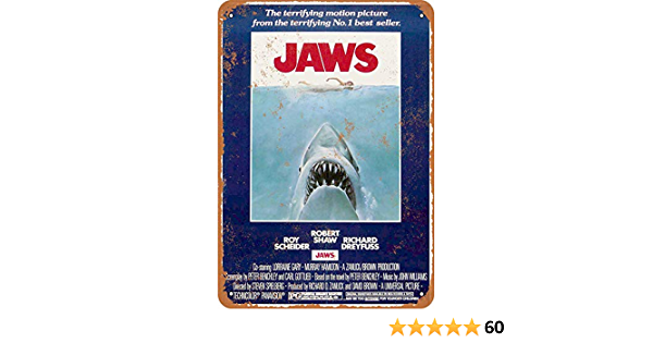 Metal Tin Sign 1975 Jaws Movie Vintage Look Reproduction Metal Sign 8 X 12