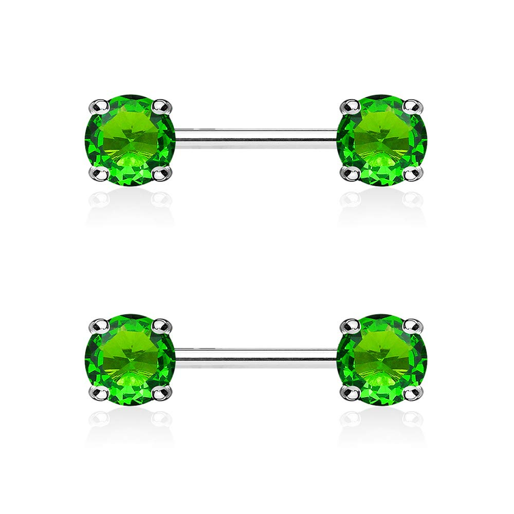 Dynamique Pair Double Front Facing Round Prong Set CZs 316L Surgical Steel Nipple Bars
