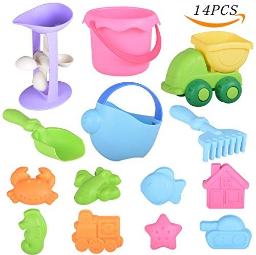 Veken Beach Sand Toys Set for Kids Toddlers, BPA Free Eco-Friendly TPE Material Soft Sandbox Toys Bucket, Trucks, Sand Wheel, Shovels, Rakes 14 Pieces Sand Molds