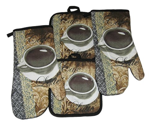 Pot Holder Cafe (Coffee Cafe Latte Potholders and Oven Mitts Set (4 Items) )