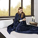 Beautyrest Ultra Soft Knitted Plush Reverse to Sherpa Auto Shut Off Electric Blanket with 20 Heat Level Setting Controller, Full, Indigo
