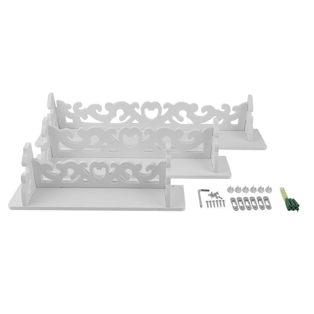 YCDC One Set White Three Pieces White Wood Display Wall Shelf Storage Ledge Home Dector