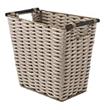 Whitmor PE Rush Waste Basket with Wood Handles