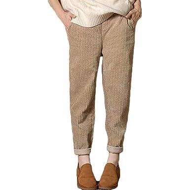 a7c3c582e605 Pantalon Long Femme Taille élastique Roll Up Pantalon en Velours côtelé  Pantalon Taille Haute Solide lâche Sarouel Pantalon à Enfiler avec Poches  Unie ...