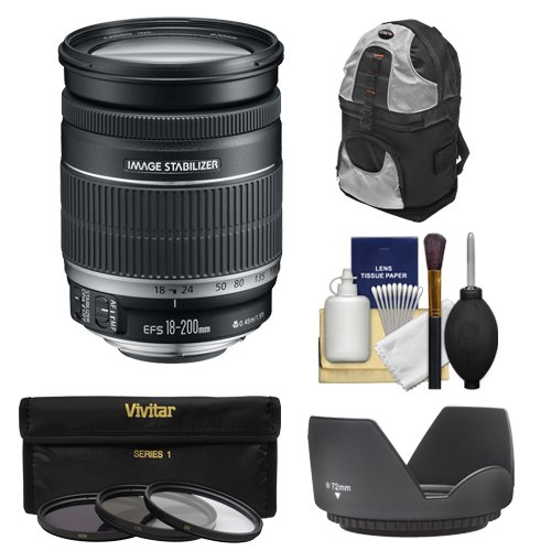 Canon EF-S 18-200mm f/3.5-5.6 IS Zoom Lens with Case + 3 UV/FLD/CPL Filters + Hood + Kit for EOS 7D, 70D, Rebel T3, T3i, T5, T5i, SL1 DSLR Camera
