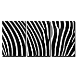 wall26 - 3 Piece Canvas Wall Art - Black and white texture of zebra skin - Modern Home Decor Stretched and Framed Ready to Hang - 16''x24''x3 Panels