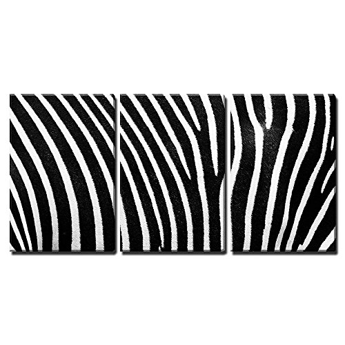 """wall26 - 3 Piece Canvas Wall Art - Black and White Texture of Zebra Skin - Modern Home Art Stretched and Framed Ready to Hang - 24""""x36""""x3 Panels"""
