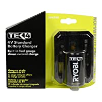 Ryobi Genuine OEM AP4700 Tek4 4 Volt Compact Lithium Ion Battery Charger with Onboard LED Fuel Gauge and Battery Test Function