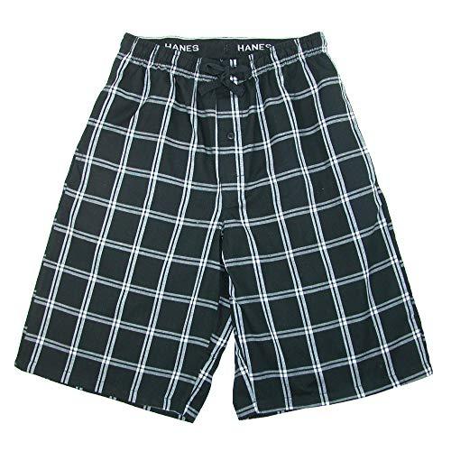 (Hanes Men's Cotton Madras Drawstring Sleep Pajama Shorts, Medium, Black Plaid)