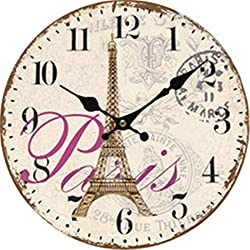 Paris Eifferl Tower Wall Clock Battery Operated Art Silent Non-Ticking Small Wood Clock 10 Inches