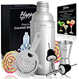 Premium Martini Shaker Set - 24 oz Stainless Steel Cocktail Mixer, Jigger, Strainer, 2 Pourers, 10 Cocktail Umbrellas and Recipes Ebook - Professional Bar Kit by Happy-li