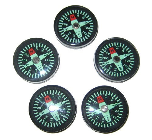 25 mm Liquid Filled Survival Button Compasses Set of 5