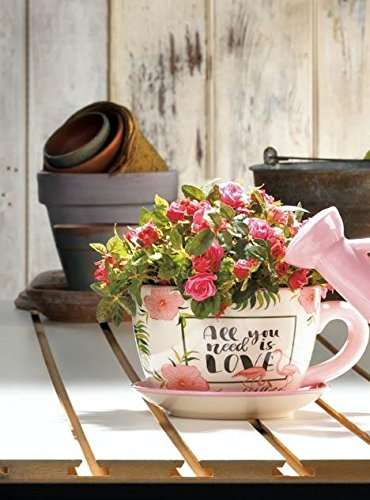 Teacup Planter, Flowerpot Decorated with Flowers and Pink Flamingos -