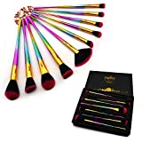 FONY Artist Makeup Brushes 10 Pieces Professional Makeup Brush Set, Premium Silky Soft Synthetic Bristles with Rainbow Handle Cosmetics Brush Kit (10, Canton tower)