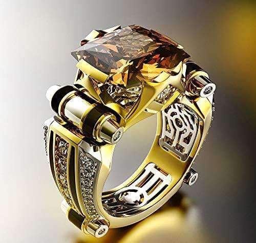 ウェディングギフトに適しダイヤモンドリングクリエイティブ指輪メンズ横暴な色分解ジュエリーファッションシンプルなジュエリー,N