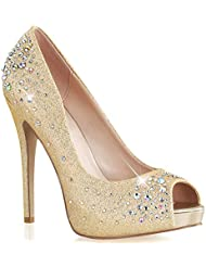 Womens Dazzling Gold Peep Toe Pumps with Rhinestone Detail and 5 Inch Heels