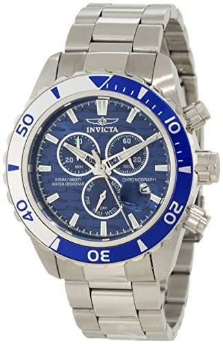 Invicta Men's 12445 Pro Diver Chronograph Blue Textured Dial Watch (Blue Dial Textured Watch)