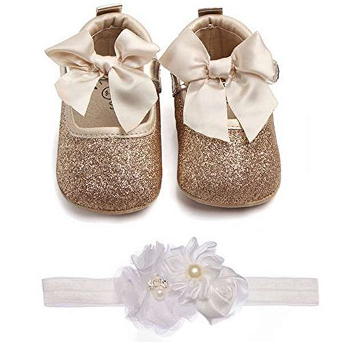 Lidiano Baby Girls Bowknot Sequins Bling Anti-Slip Mary Jane Flat Crib Shoes with Headband (0-6Months, Gold)