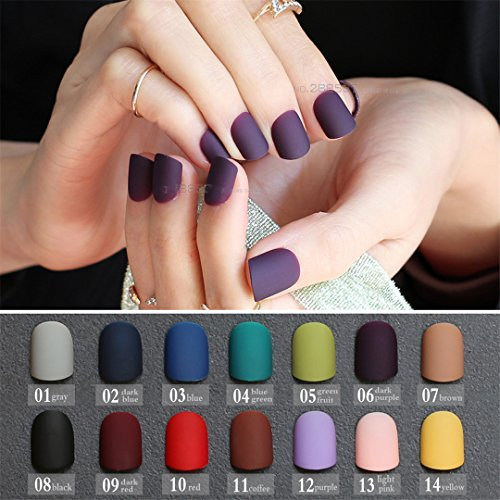 Frosted Finished Gray Matte False Nails Brown Short Paragraph Green 24Pcs Square Head Matte Fake Nails Purple Classic Red Blue 02 dark blue