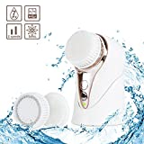 Sonic Facial Cleansing Brush, 3 in 1 Mini Portable Vibration Waterproof Rechargeable Electric Facial Massager for Deep Cleansing, Gently Exfoliate and Remove Blackhead with 3 Brush Heads and 2 Setting