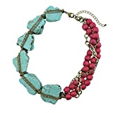 BOCAR Personalized Big Statement Turquoise Chunky Collar Chain Necklace for Women Gifts (NK-10271-turquoise+rose)
