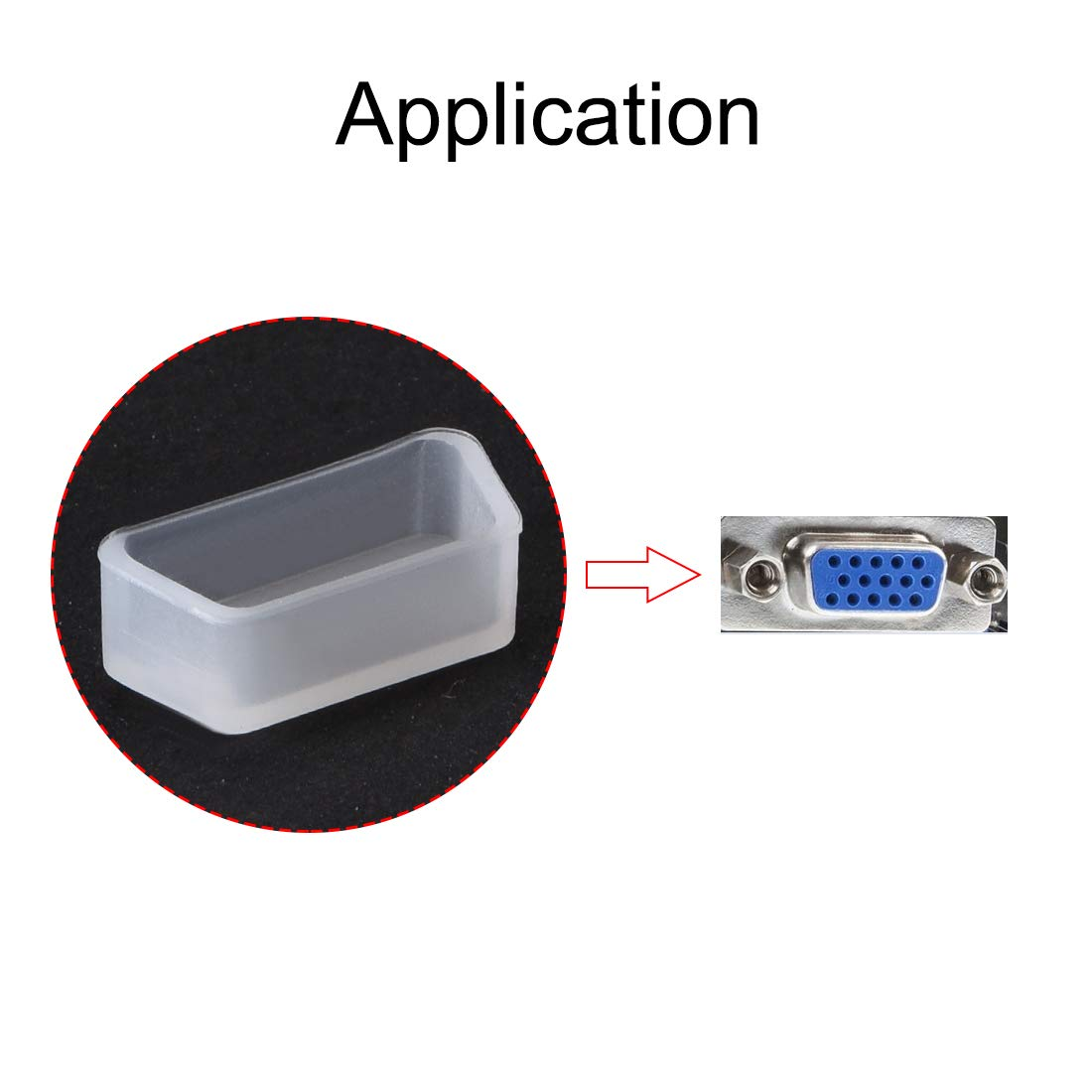 sourcing map Silicone VGA Port Anti-Dust Stopper Cap Cover for DB9 RS232 Clear 5pcs