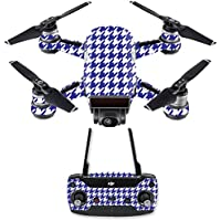 Skin for DJI Spark Mini Drone Combo - Blue Houndstooth| MightySkins Protective, Durable, and Unique Vinyl Decal wrap cover | Easy To Apply, Remove, and Change Styles | Made in the USA