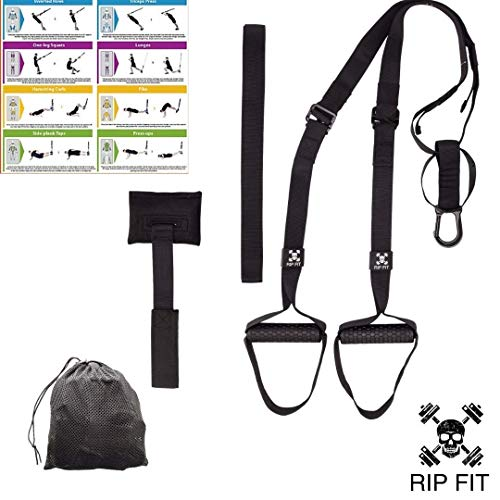Bodyweight Resistance Training Straps. Best Travel, Hotel, Outdoor Workout and Office Exercise Equipment. An Entire Gym In a Bag. Anchors To Any Door Or Bar Workout Anywhere! Plus Exercise - Fit Trainer