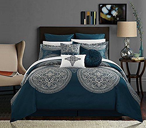 Chic Home 9 Piece Orchard Place Faux Silk Luxury Large Medalion Jacquard with embroidery details and trims King Comforter Set (King Places)