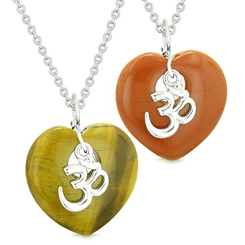 - Ancient Tibetan OM Amulets Love Couples or Best Friends Magic Puffy Hearts Red Jasper Tiger Eye Necklaces