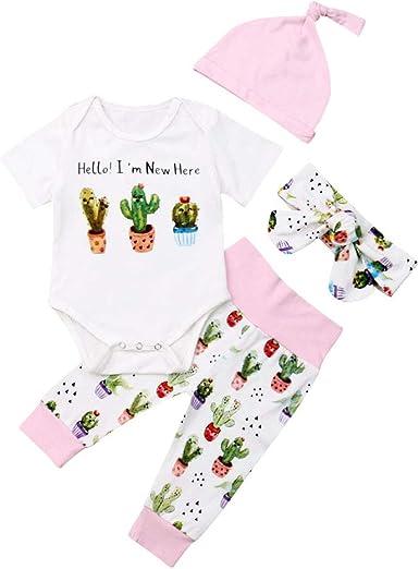 Summer Baby Girl Clothes Set Toddler 3Pieces Pajamas Set Shirt Headband Hat Infact Baby Outfit Set Pants