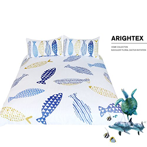 ARIGHTEX Fishy Bedding Geometric Drawing of Fish Duvet Cover Quilt Cover Set White Bedding Sets for Teens Girls Little Boys (Twin)