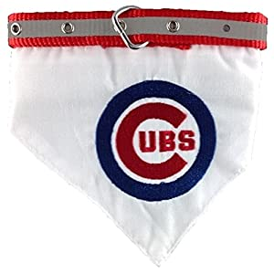 MLB BANDANA - CHICAGO CUBS DOG BANDANA with Reflective & Adjustable DOG COLLAR, Medium