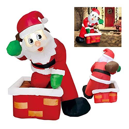 Christmas LED Inflatable Air Blown Yard Decoration Santa Claus Chimney Gift Bag ()
