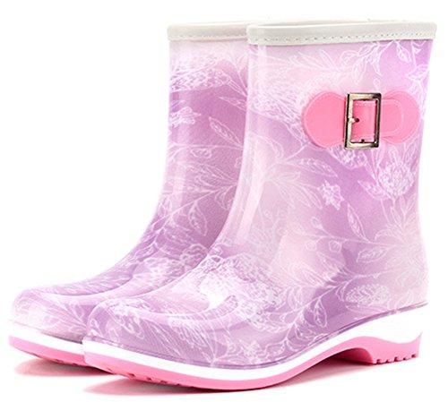 IDIFU Womens Waterproof Low Heels Short Rubber Boots Rain Wellies Wellington Shoes Purple FXlejaC3