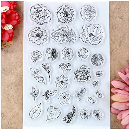 (Kwan Crafts Flowers Leaves Clear Stamps for Card Making Decoration and DIY)
