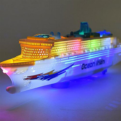 Electric Toy Boats (Qiyun Electric Navigation Model Baby Electric Navigation Model Large Cruise Ship Infant Toddler Flash Music Universal Wheel Boat Toy Christmas Gift)