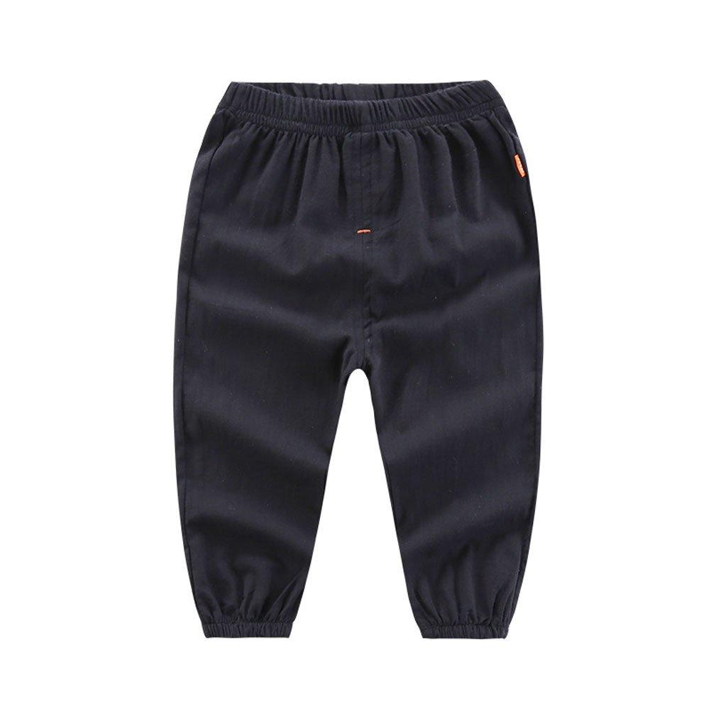 Zukzi Little Girls Boys Summer Cotton Linen Mid Rise Solid Pants, Black, 5-6 Years