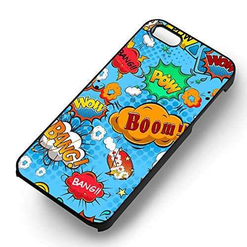 Unique Comic Speech Bubble pour Coque Iphone 5 or Coque Iphone 5S or Coque Iphone 5SE Case (Noir Boîtier en plastique dur) C5I9QH