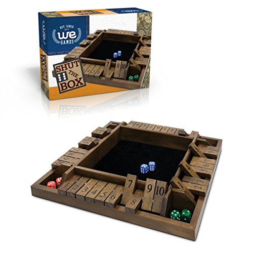 (WE Games 4-Player Travel Shut The Box Wooden Board Game with Dice - 8 in.)
