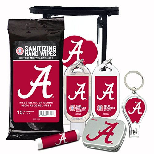 - Alabama Crimson Tide 6-Piece Fan Kit with Decorative Mint Tin, Nail Clippers, Hand Sanitizer, SPF 15 Lip Balm, SPF 30 Sunscreen, Sanitizer Wipes. NCAA Gifts for Men and Women