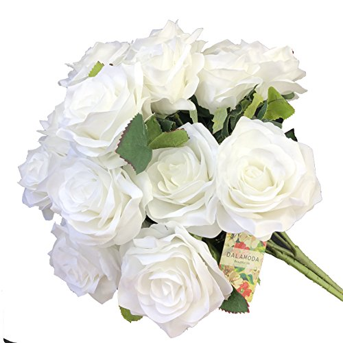 DALAMODA White 2 Bundles (with Total 20 Heads) Rose Flower Bouquet, for DIY Any Decoration Artificial Silk Flower (White Pack of 2)