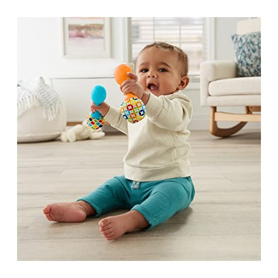 Fisher-Price Rattle 'n Rock Maracas, Blue/Orange [Amazon Exclusive] 2 Includes 2 toy maracas Sized just right for little hands to grasp and shake Colorful beads make fun rattle sounds when shaken