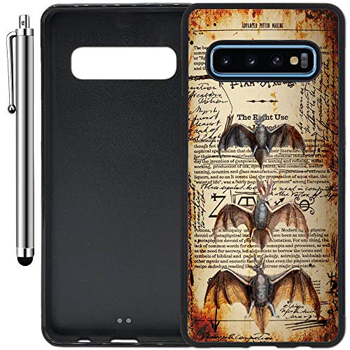 (Custom Case Compatible with Galaxy S10 Plus (6.4 inch) (Bats Spells and Potions) Edge-to-Edge Rubber Black Cover Ultra Slim | Lightweight | Includes Stylus Pen by Innosub)