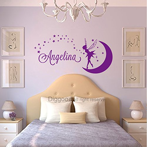 (Name Wall Decal Tinkerbell Fairy Silhouette Moon Girl Vinyl Decals Sticker Magic Little Princess Nursery Decor (11
