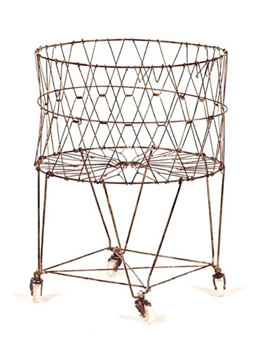 Moda Home Vintage Reproduction Collapsible Rolling Metal Laundry Basket by Moda Home