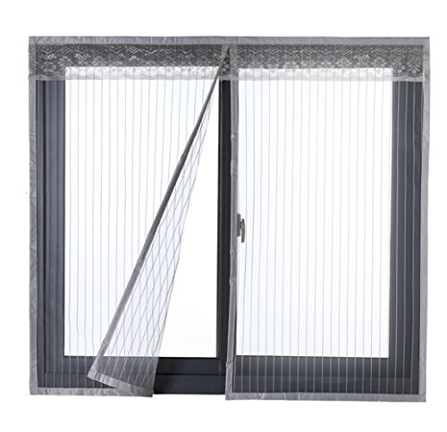 Oncefirst Anti Mosquito Bug Insect Fly Magnetic Window Screen Net Mesh Curtain Stripe Grey 59x39 ()